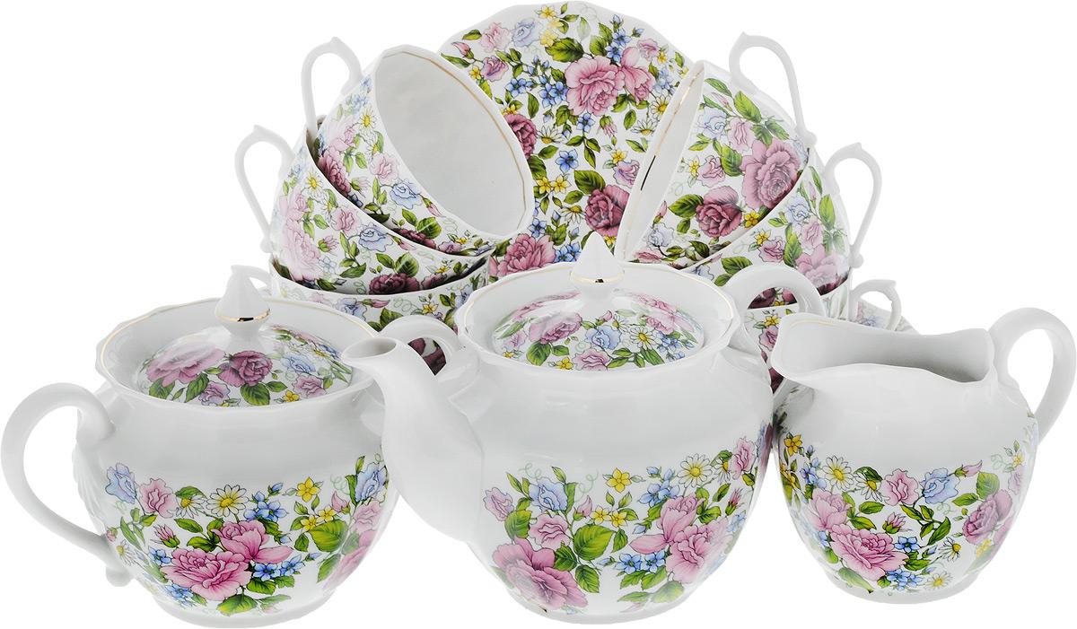 Сервиз чайный Фарфор Вербилок Роза с ромашкой, 15 предметов115510Чайный сервиз Фарфор Вербилок Роза с ромашкой состоит из 6 чашек, 6 блюдец, сахарницы, заварочного чайника и сливочника. Изделия выполнены из высококачественного фарфора и оформлены красивым цветочным рисунком. Изящный чайный сервиз прекрасно оформит стол к чаепитию и порадует вас элегантным дизайном и качеством исполнения.Объем чайника: 600 мл.Высота чайника (без учета крышки): 11 см.Диаметр чайника (по верхнему краю): 10,5 см.Высота сахарницы (без учета крышки): 8 см.Диаметр сахарницы (по верхнему краю): 10,5 см.Объем сахарницы: 600 мл.Объем сливочника: 350 мл.Размер сливочника (по верхнему краю): 9 х 7 см. Высота сливочника: 10 см.Объем чашки: 200 мл.Диаметр чашки (по верхнему краю): 8,5 см.Высота чашки: 6 см.Диаметр блюдца: 14,5 см.Высота блюдца: 2,5 см.