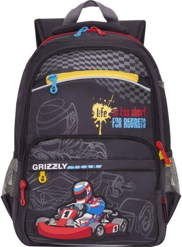 Grizzly Рюкзак цвет черный RB-732-2/272523WDШкольный рюкзак Grizzly - это необходимый аксессуар для любого школьника. Рюкзак выполнен из плотного материала и оформлен оригинальным принтом спереди.Рюкзак имеет два основных отделения, закрывающихся на застежки-молнии с двумя бегунками, прорезной карман на застежке-молнии на малом отделении и небольшой накладной карман спереди, на котором также расположен прорезной карман на молнии. По бокам рюкзак дополнен двумя открытыми карманами-сетками.Внутри большого основного отделения расположен накладной открытый карман. Малое отделение не имеет карманов. Рюкзак оснащен удобной текстильной ручкой для переноски в руке, петлей для подвешивания и светоотражающими вставками.Спинка дополнена эргономичными воздухопроницаемыми подушечками, которые обеспечивают удобство и комфорт при носке. Мягкие анатомические лямки скругленной формы регулируются по длине.Многофункциональный школьный рюкзак станет незаменимым спутником вашего ребенка в походах за знаниями.