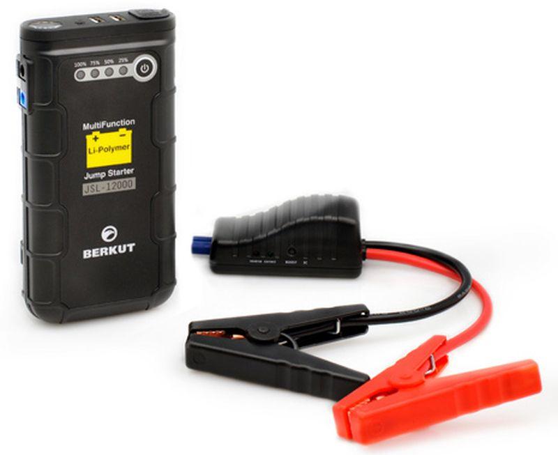 Пуско-зарядное устройство Berkut. JSL-12000SPECHR-011Это специальное пуско-зарядное устройство литий-полимерного типа предназначено для аварийного запуска двигателя транспортного средства в случае неисправной АКБ. Устройство подходит для любых типов транспортных средств с напряжением бортовой сети 12V, а также служит для подзарядки и работы широкого ряда мобильной техники и электроники от встроенных разъемов: USB 5V, 12V, 19V. Пуско-зарядное устройство JSL-12000 рекомендовано для любых типов транспортных средств с бензиновыми двигателями до 3500 см. куб. и дизельными до 2000 см. куб.