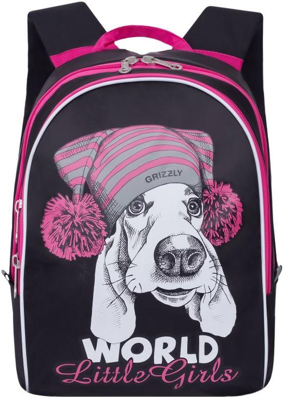 Grizzly Рюкзак дошкольный цвет черный RS-764-1/172523WDДетский рюкзак Grizzly - это красивый и удобный рюкзак, который непременно понравится вашему малышу. Рюкзак выполнен из плотного материала и оформлен оригинальным принтом c изображением мордочки собаки спереди.Рюкзак имеет два основных отделения, закрывающиеся на застежки-молнии с двумя бегунками. Внутри первого отделения располагается большой накладной карман и три маленьких накладных кармашка для канцелярских принадлежностей. Второе отделение дополнено вместительным накладным карманом.Рюкзак оснащен удобной текстильной ручкой для переноски в руке и подвешивания, а также дополнен светоотражающими вставками. Мягкие лямки скругленной формы регулируются по длине.Многофункциональный рюкзак станет незаменимым спутником вашего ребенка в походах за знаниями.