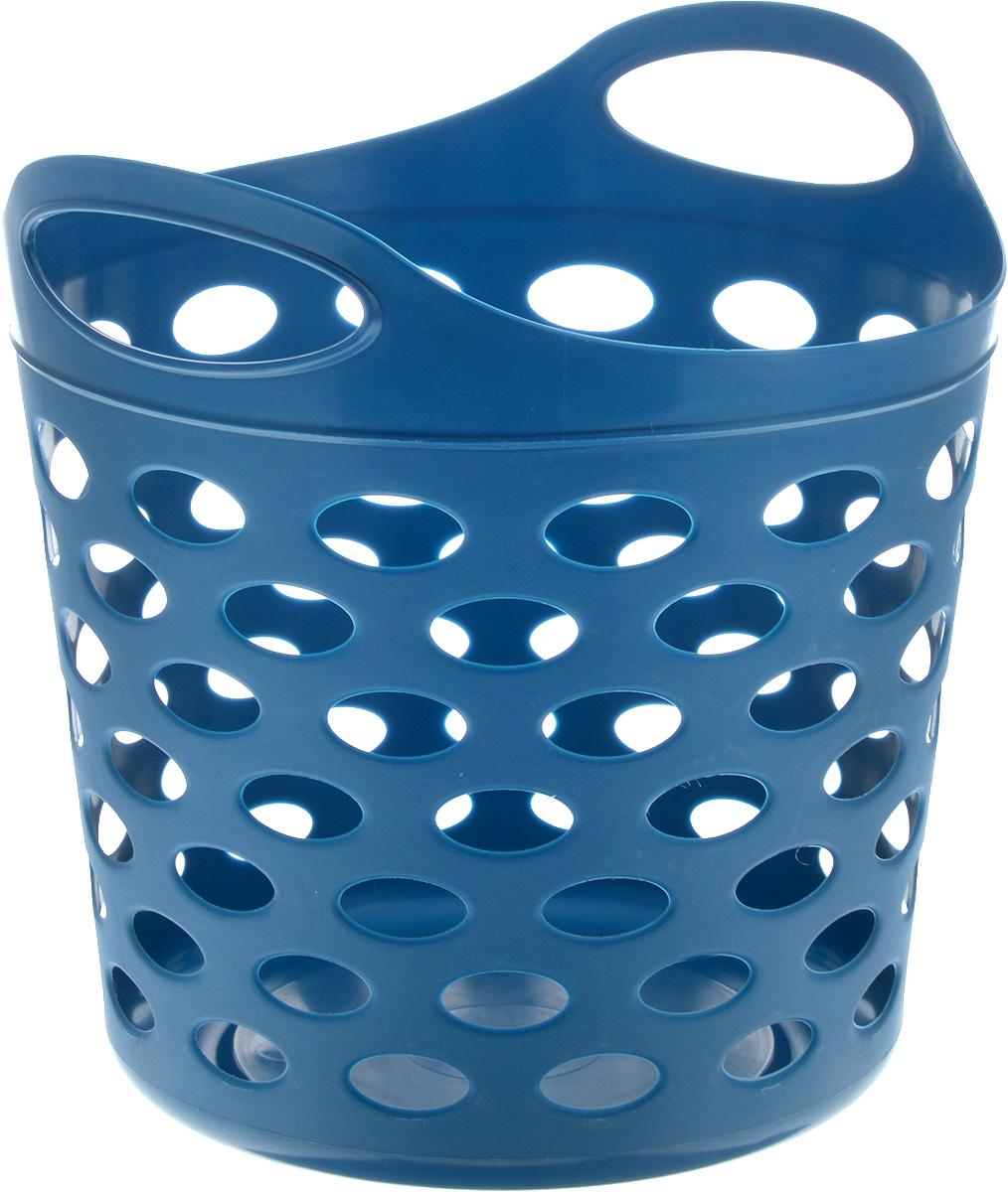Корзина-сумка Gensini, универсальная, цвет: синий, 13 л74-0060Универсальная корзина-сумка Gensini отлично подойдет для хранения белья перед стиркой, игрушек и других вещей. Она выполнена из высококачественного мягкого пластика и оснащена двумя удобными ручками для переноски. Боковые стенки оформлены перфорацией, которая обеспечивает вентиляцию белья. Современный дизайн корзины-сумки позволит ей вписаться в любой интерьер, а благодаря своим компактным размерам она не займет много места.