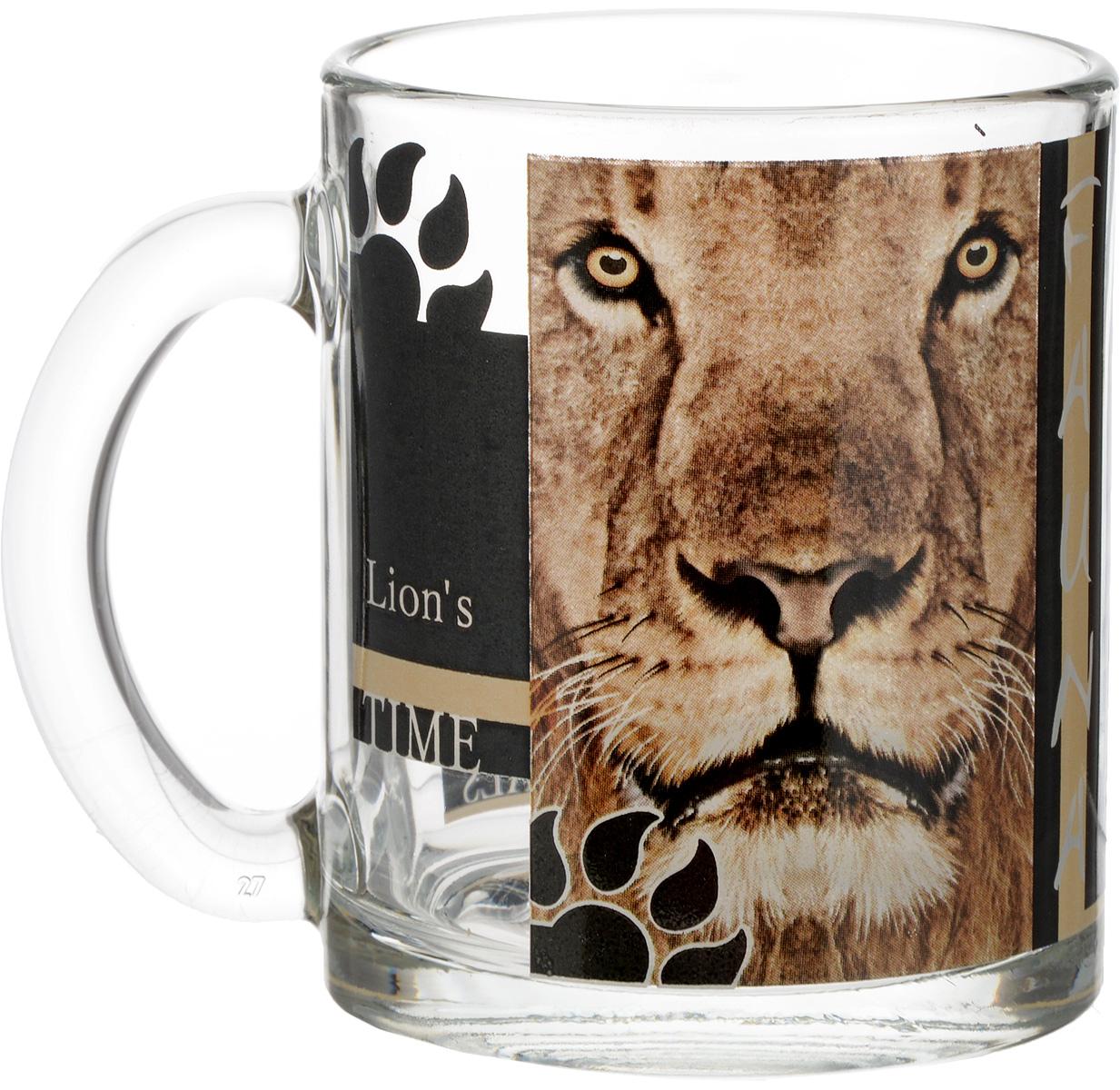 Кружка OSZ Чайная. Дикие кошки. Лев, 320 мл115510Кружка OSZ Чайная. Дикие кошки. Лев, выполненная из стекла, декорирована изображением льва и оснащена эргономичной ручкой. Кружка сочетает всебе оригинальный дизайн и функциональность. Она согреет вас долгими холодными вечерами.Диаметр кружки (по верхнему краю): 8 см. Высота кружки: 9,5 см. Объем кружки: 320 мл.