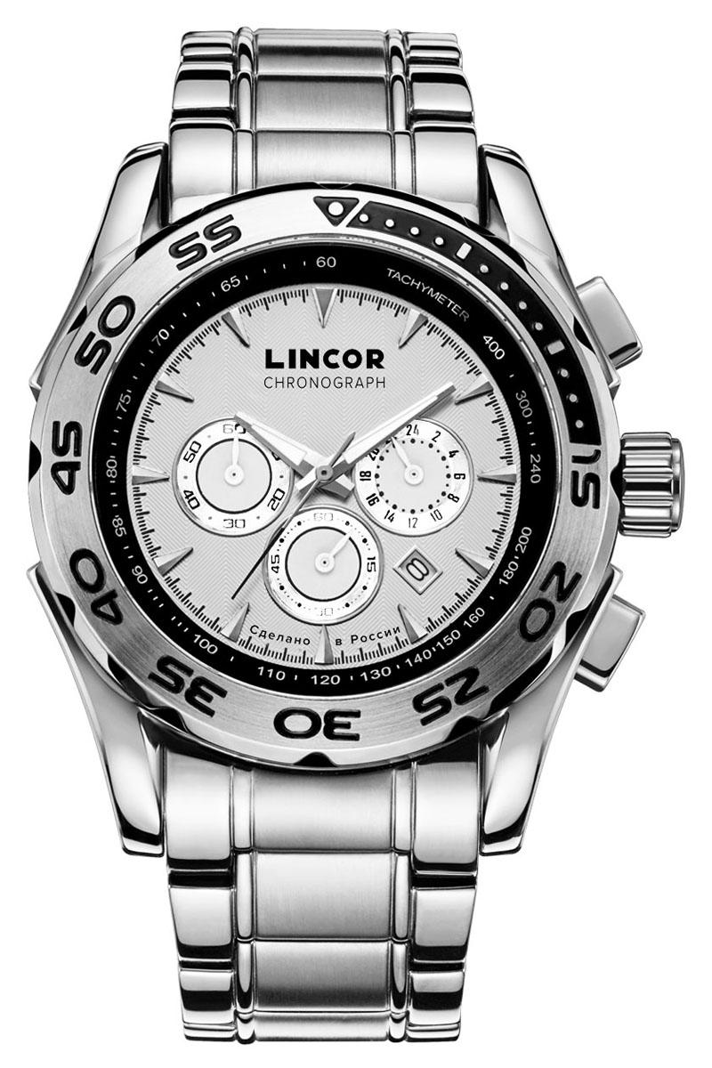 Часы наручные мужские Lincor, цвет: серебристый. 1012S0B3BM8434-58AEНаручные мужские часы Lincor, японский кварцевый механизм Miyota с функцией хронографа. Корпус выполнен из высококачественной нержавеющей стали. Циферблат закрыт минеральным стеклом с защитным сапфировым напылением. Завинчивающаяся задняя крышка. Браслет: сталь. Вынесенная секундная стрелка. 24-часовая шкала времени.