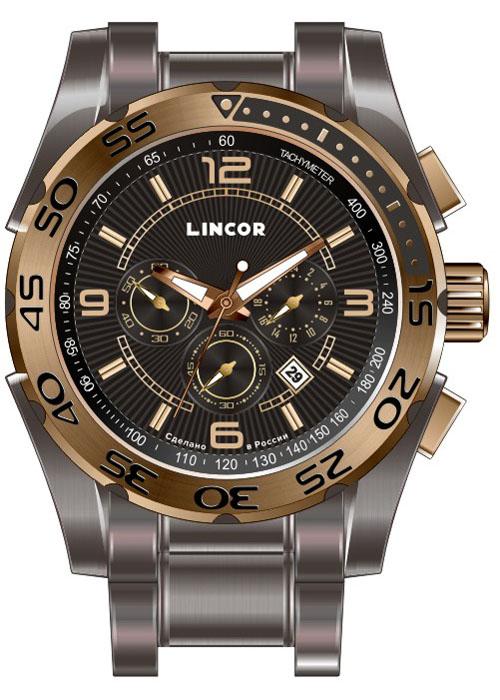 Часы наручные мужские Lincor, цвет: коричневый. 1012S15B4BM8434-58AEНаручные мужские часы Lincor, японский кварцевый механизм Miyota с функцией хронографа. Корпус выполнен из высококачественной нержавеющей стали. Циферблат закрыт минеральным стеклом с защитным сапфировым напылением. Завинчивающаяся задняя крышка. Браслет: сталь. Вынесенная секундная стрелка. 24-часовая шкала времени.