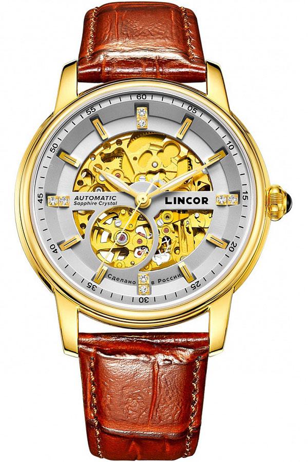 Часы наручные мужские Lincor, цвет: золотистый. 1183S2L2BM8434-58AEЭта модель по праву считается флагманской моделью с автоподзаводом от Lincor, которая была разработана за счет слияния традиций и новейших технологий. Точный хронометр ручной сборки с выполнен в изысканном стиле из высококачественной стали. Двухуровневый циферблат данной модели позволяет более полно наслаждаться работой механизма, защищенного прочным сапфировым стеклом.