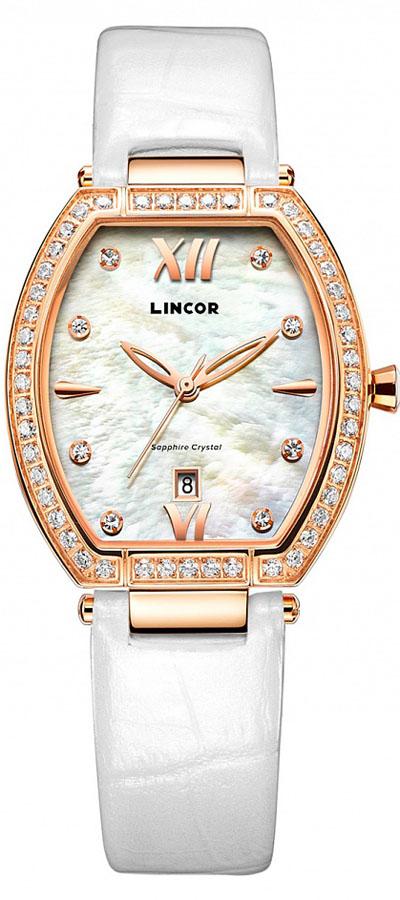 Часы наручные женские Lincor, цвет: золотистый. 1190S8L2BM8434-58AEТворческая гармония между классическими традициями и современным дизайном, этими, казалось бы, не совместимыми элементами добавляет часам Lincor присущую им женственность. Изысканная игра света и тени перламутра циферблата и стразов, украшающих корпус, совершенство конструкции и элегантность определяют безупречную эстетику этой модели. Стразы окружают образ сиянием и наделяют свою владелицу волшебными чарами. Покрытие выполнено по современной технологии – ионным напылением розовым золотом высокой пробы. На элегантном перламутровом циферблате с блестящими вставками-индексами часы и минуты показывают оригинальной формы золотистые стрелки. Часы комплектуются кварцевым механизмом производства Miyota Sitizen (Япония). Срок службы элемента питания 2 года. Материал стекла – сапфир – придает ему устойчивость к царапинам.