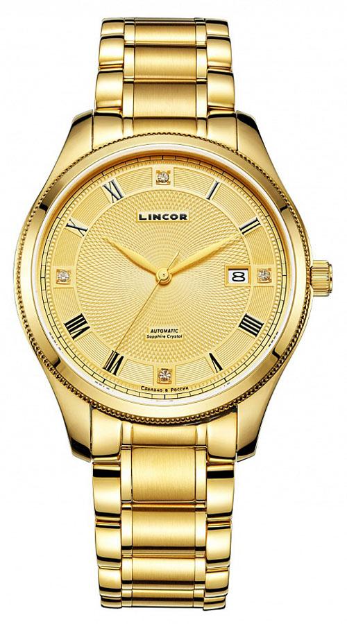 Часы наручные мужские Lincor, цвет: золотистый. 1229S2B2BM8434-58AEМодель Lincor совмещает в себе неподдельные ценности часового искусства и современные разработки. Шикарные часы, сердцем которых является высокоточный механизм, заключенный в неподвластный времени дизайн. Корпус и браслет изготовлены из высокотехнологичной гипоаллергенной нержавеющей стали. Японский механизм оснащен календарем, показывающим в специальном окне число месяца. Дизайн циферблата с римскими цифрами и отметками создает оригинальный стиль. Для того чтобы защитить циферблат от повреждений в часах используется высокопрочное сапфировое стекло. Часы оснащены удобным гибким браслетом из металла.
