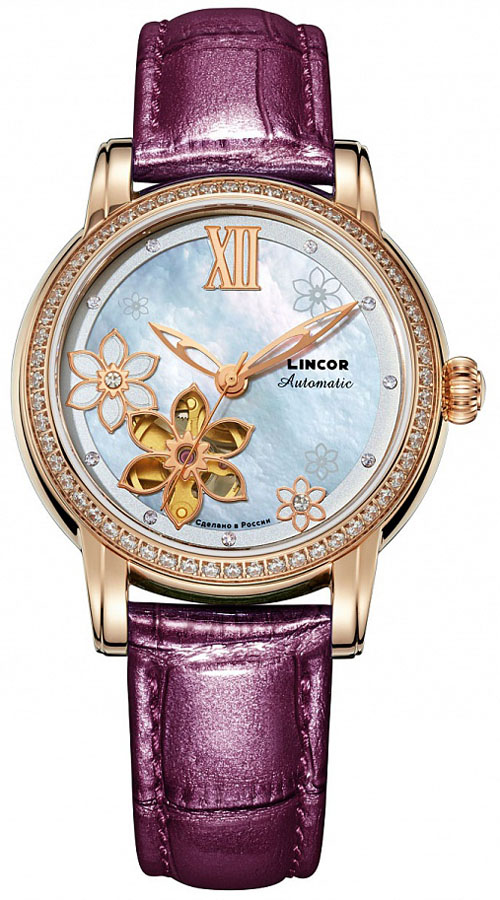 Zakazat.ru: Часы наручные женские Lincor, цвет: золотистый, фуксия. 1231S8L1/12