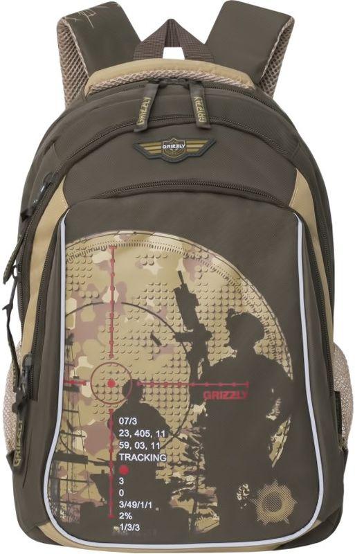 Grizzly Рюкзак цвет оливковый RB-732-1/272523WDШкольный рюкзак Grizzly - это необходимый аксессуар для любого школьника. Рюкзак выполнен из плотного материала и оформлен оригинальным принтом с изображением снайперов спереди.Рюкзак имеет два основных отделения, закрывающихся на застежки-молнии с двумя бегунками, а также вместительный накладной карман спереди. По бокам рюкзак дополнен двумя открытыми карманами-сетками. Внутри накладного кармана спереди располагается органайзер - карман-сетка на молнии, большой накладной карман и три маленьких накладных кармашка для канцелярских принадлежностей. Внутри одного основного отделения расположен укрепленный накладной карман для планшета, дополненный прорезным карманом на молнии. Второе отделение не имеет карманов. Рюкзак оснащен удобной текстильной ручкой для переноски в руке, петлей для подвешивания и светоотражающими вставками.Спинка дополнена эргономичными воздухопроницаемыми подушечками, которые обеспечивают удобство и комфорт при носке. Мягкие анатомические лямки скругленной формы регулируются по длине.Многофункциональный школьный рюкзак станет незаменимым спутником вашего ребенка в походах за знаниями.
