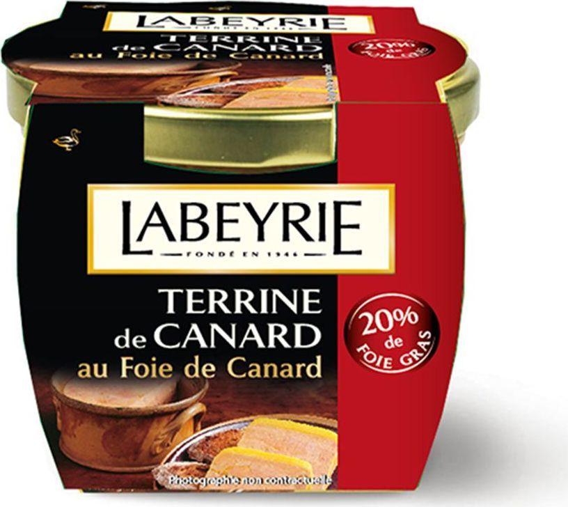 LaBeyrie Террин паштет утиный 20% фуа-гра, 170 г0120710Утиный паштет с содержанием Фуа-Гра. Идеально к Террину подойдет хлеб грубого помола, французский багет или обычный тост.