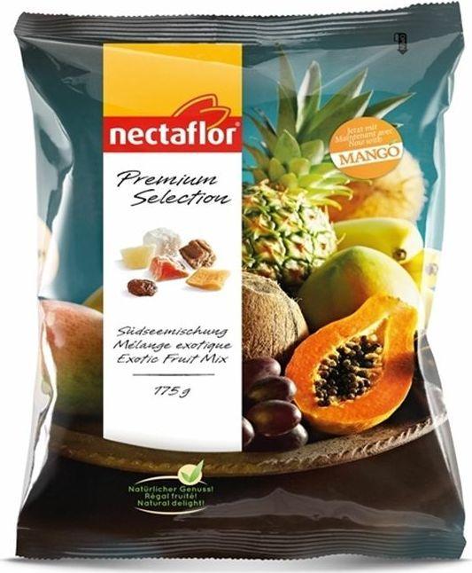 Nectaflor смесь экзотических сухофруктов, 175 г0120710Ароматная экзотическая смесь покрытых сахаром ананасов, папайи, манго, жареных бананов, нарезанных кубиками кокосов и изюма. Богатая вкусом сочная смесь – идеальная закуска, а также отличная добавка к кашам и йогуртам.