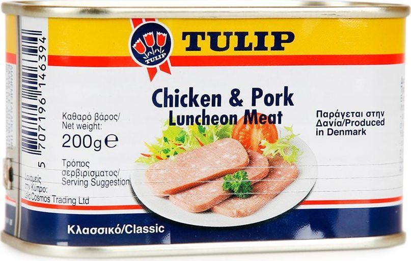 Tulip Мясо к завтраку из курицы и свинины, 200 г0120710Мясной деликатес, приготовленный по классическому датскому рецепту из отборной свинины и нежного куриного филе. Мясо консервируют уникальным способом, который позволяет сохранить его нежную и мягкую текстуру, увеличивая срок годности продукта. В производстве используется отборное сырье высшего качества. Удобно открывающаяся упаковка.