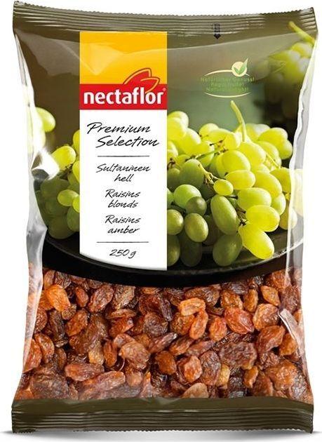 Nectaflor изюм светлый султанский, 250 г0120710Восхитительно вкусный натуральный сладкий изюм, созревший на жарком солнце. Изюм – это натуральная высокопитательная закуска. Подходит для добавления в мюсли, каши, фруктовые салаты, а также для выпечки тортов и рисовых блюд.