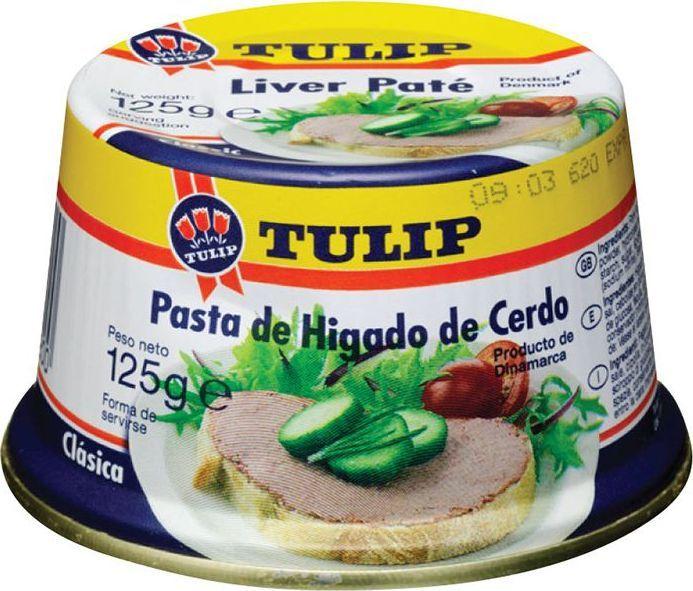 Tulip Паштет печеночный, 125 г79201Печеночные паштеты в жести удобны для любого случая, они хороши во время завтрака, на пикнике или на праздничном столе. Имеют удобную легко открывающуюся крышку с язычком. Благодаря своей конической форме она хорошо запоминается покупателям и позволяет сэкономить место на прилавке супермаркета. Паштеты приготовлены из отборной свиной печени, имеют нежную консистенцию. Все виды печеночных паштетов упаковываются в банки с легко открывающимися крышками. Внутренняя часть банки покрывается специальным защитным составом, так называемым пищевым лаком, благодаря которому мясо не соприкасается с металлом, а продукт после вскрытия баночки имеет свежий и натуральный вкус, а не запах жестянки.