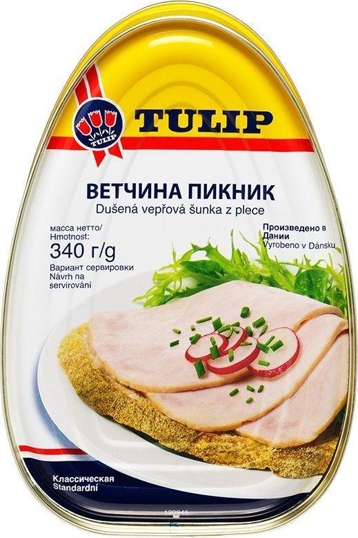 Tulip Ветчина Пикник, 340 г83511При приготовлении используется сырье, хорошо сбалансированное по содержанию мышечной и жировой ткани. Ветчина лопаточная – консервированная постная диетическая ветчина из лучших свиных окороков с содержанием мяса – 80%. Незаменима в походе и на даче.