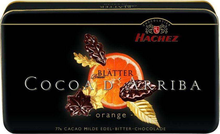 Hachez шоколадные лепестки с апельсином 77%, 150 г0120710Шоколадные лепестки Cocoa d'Arriba с насыщенным и приятным ароматом апельсина. Современный, привлекательный дизайн. Идеальный подарок к любому празднику. Белки: 9 г, углеводы: 25 г, жиры: 46 г.