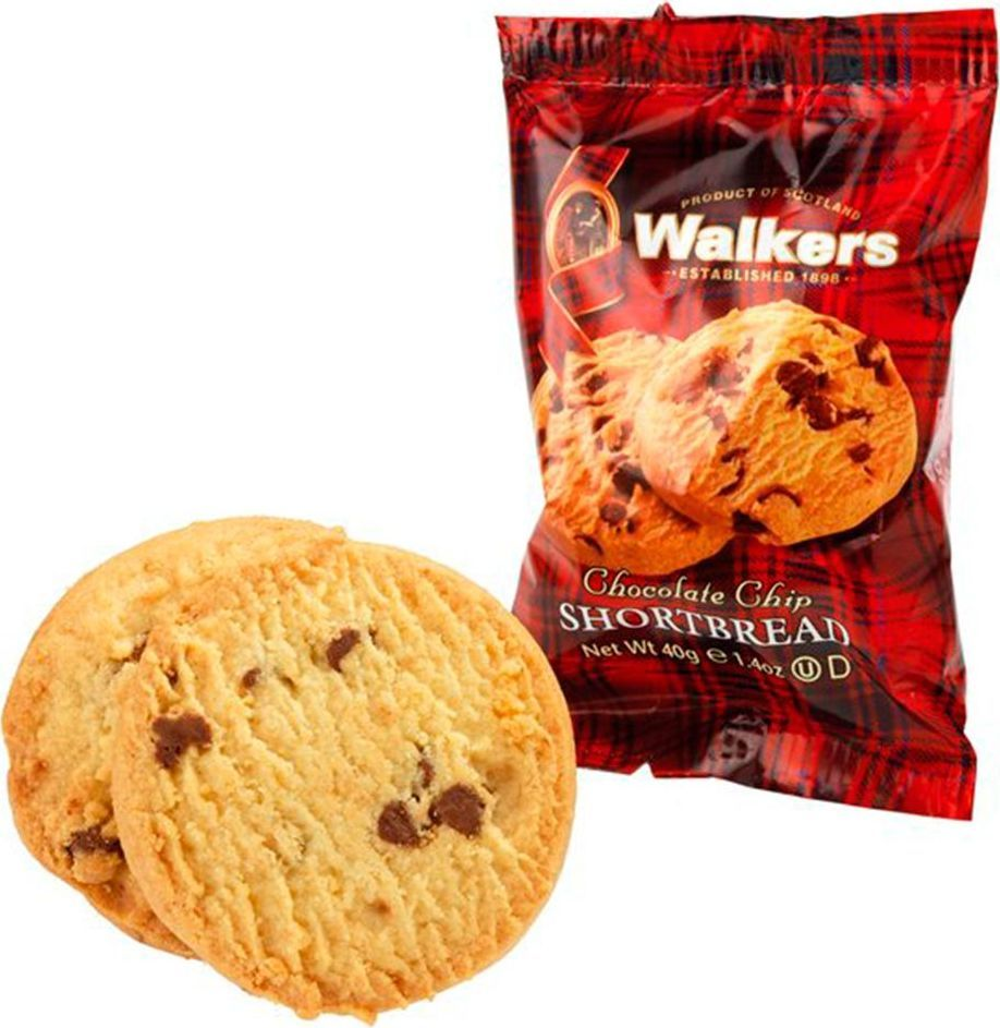 Walkers печенье с шоколадной крошкой в дисплее, 24 шт по 40 г0120710Печенье с шоколадной крошкой - это идеальная комбинация сливочного вкуса песочного печенья и шоколада. Шоколадная крошка сделана из темного шоколада.Пищевая ценность на 100 г продукта: белки 5,4 г, жиры 25,5 г, углеводы 63 г.