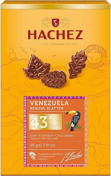 Hachez шоколадные лепестки из какао сорта Венесуэла 43%, 95 гК00742Шоколадные лепестки из коллекции премиального шоколада, созданного из уникального сорта какао бобов Венесуэлы. Белки - 9 г, углеводы - 38 г, жиры - 46 г.