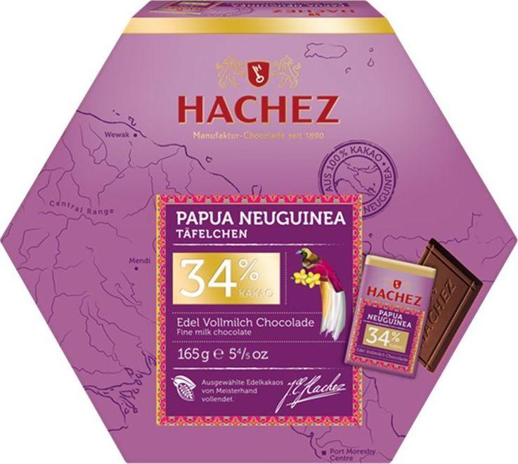 Hachez набор конфет Папуа Новая Гвинея 34%, 165 гК13018Коллекция премиального шоколада, созданного из уникального сорта какао бобов.Белки: 9 г.Углеводы: 46 г.Жиры: 36 г.