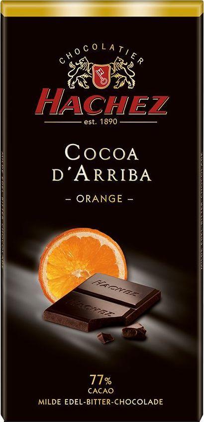 Hachez шоколадная плитка со вкусом апельсина 77%, 100 г0120710Шоколадная плитка со вкусом апельсина 77%. Терпкий и нежный вкус шоколада с содержанием какао 77%, намного нежнее по сравнению с другими плитками-представителями сегмента горького шоколада, с добавление компонентов - кусочки апельсина и насыщенный аромат цитрусовых.