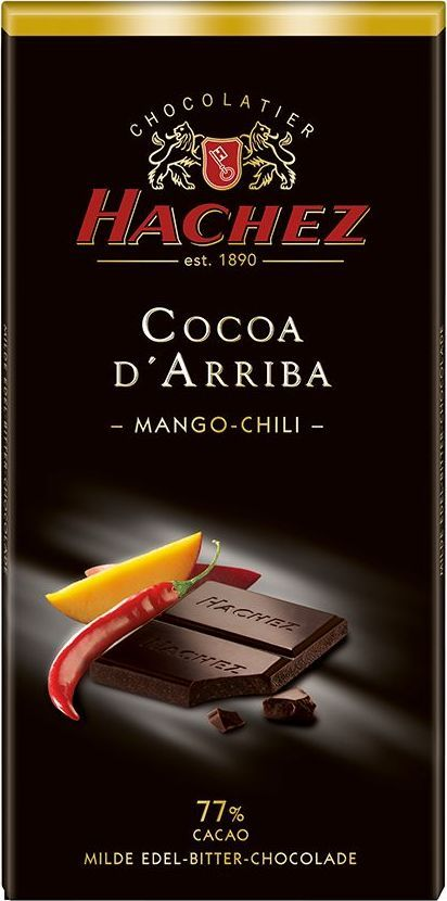 Hachez шоколадная плитка с манго и вкусом перца чили 77%, 100 г1093Шоколадная плитка с манго и вкусом перца чили 77% - терпкий и нежный вкус шоколада с содержанием какао 77%, намного нежнее по сравнению с другими плитками-представителями сегмента горького шоколада, с добавлением компонентов - кусочки манго и перца чили.
