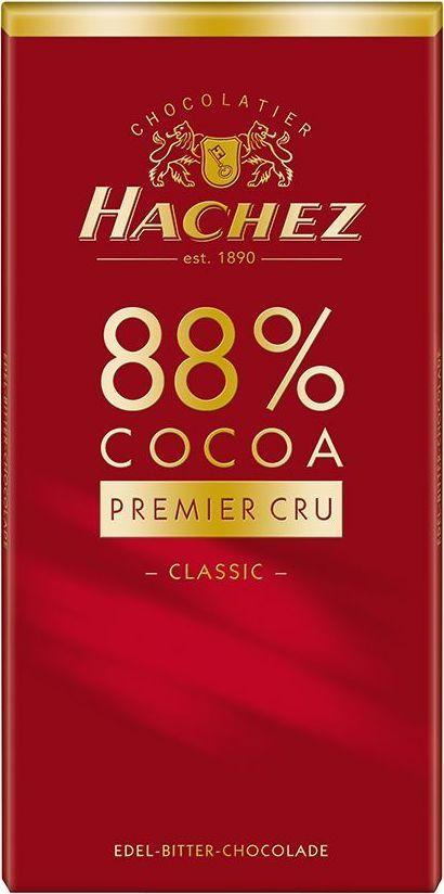 Hachez шоколадная плитка 88%, 100 г0120710Шоколадная плитка- темный шоколад с содержанием какао 88%. Является ярким отражением основной концепции Hachez – производство шоколада с высоким содержанием какао. Белки: 9 г, углеводы: 15 г, жиры: 37 г.