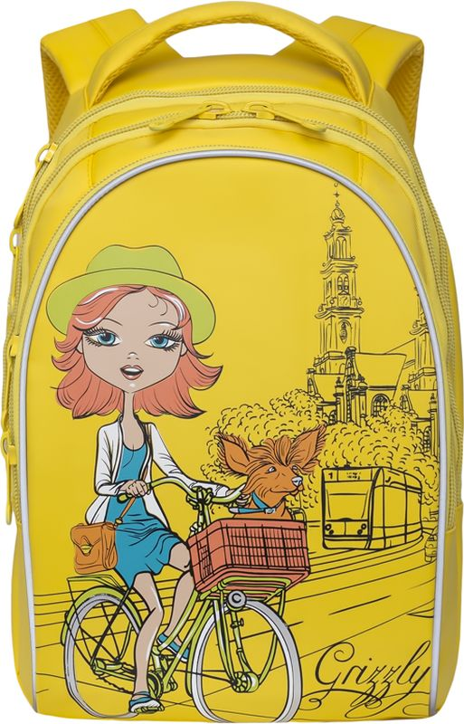 Grizzly Рюкзак цвет желтый RG-768-1/272523WDДетский рюкзак Grizzly - это красивый и удобный рюкзак, который подойдет всем, кто хочет разнообразить свои школьные будни. Рюкзак выполнен из плотного материала и оформлен оригинальным принтом c изображением девочки на велосипеде.Рюкзак имеет два основных отделения, закрывающиеся на застежки-молнии с двумя бегунками, и вместительный карман спереди. Внутри первого отделения располагается накладной карман на молнии. Внутри накладного кармана спереди находится большой накладной карман и три маленьких накладных кармашка для канцелярских принадлежностей. Рюкзак оснащен удобной текстильной ручкой для переноски в руке, а также дополнен светоотражающими вставками. Мягкие лямки скругленной формы регулируются по длине. Спинка рюкзака имеет воздухопроницаемые вставки, обеспечивающие необходимую вентиляцию.Многофункциональный школьный рюкзак станет незаменимым спутником вашего ребенка в походах за знаниями.