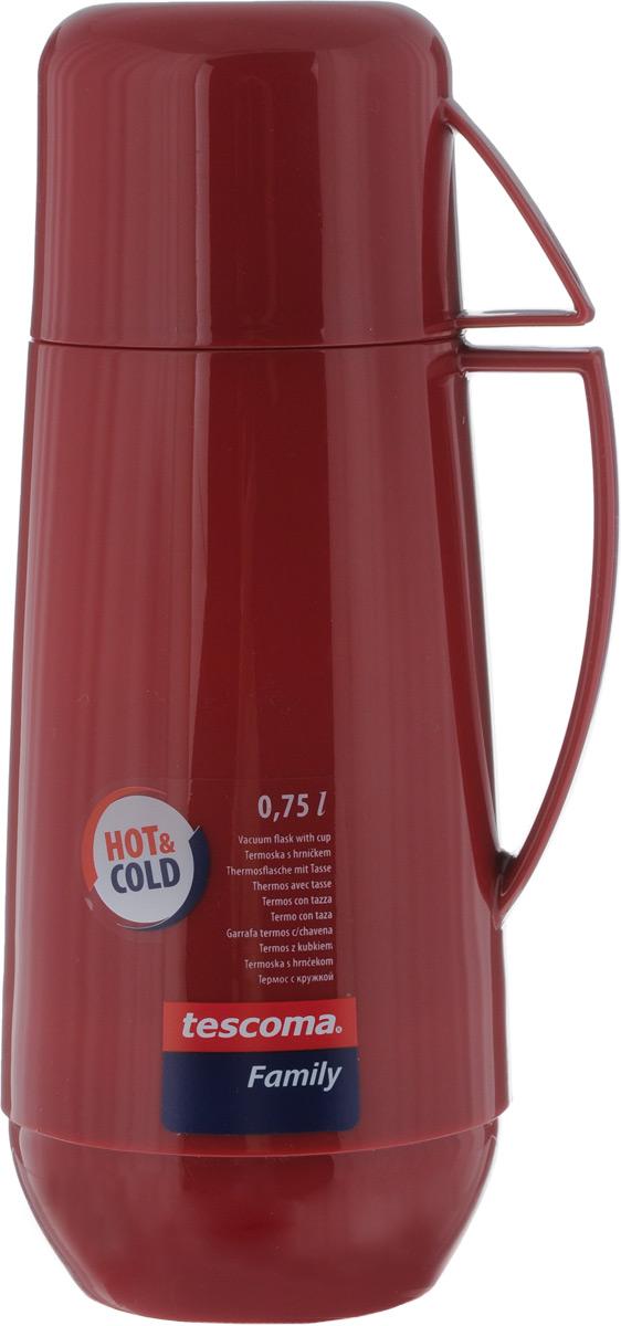 Термос Tescoma Family, с кружкой, цвет: бордовый, 750 мл96140-974-00Термос Tescoma Family предназначен для хранения теплых и холодных напитков. Он изготовлен из прочного пластика и снабжен стеклянной изоляционной колбой. Термос имеет удобную ручку, носик, предотвращающий проливание, и завинчивающуюся крышку, которая может выполнять функцию кружки с ручкой. Высота (с кружкой): 28,5 см. Диаметр горлышка: 5,5 см.