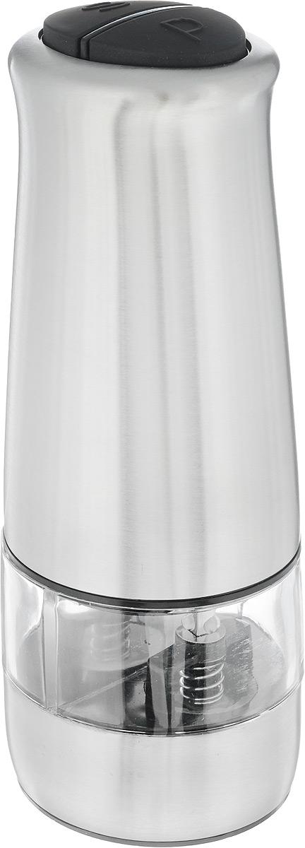 Измельчитель перца Kesper, электрический, высота 17 смV9135Электрический измельчитель перца Kesper подходит для перца горошком, крупных кристаллов соли и других немолотых специй. Корпус изделия выполнен из матового металла и прорезиненного пластика. Емкость для специй изготовлена из прозрачного акрила. Достаточно просто перевернуть измельчитель, и помол начнется автоматически.Необычный оригинальный дизайн стильно дополнит интерьер кухни. Такой измельчитель прекрасно подойдет для сервировки стола и использования на кухне.Изделие работает от 6 батареек типа ААА (в комплект не входят).