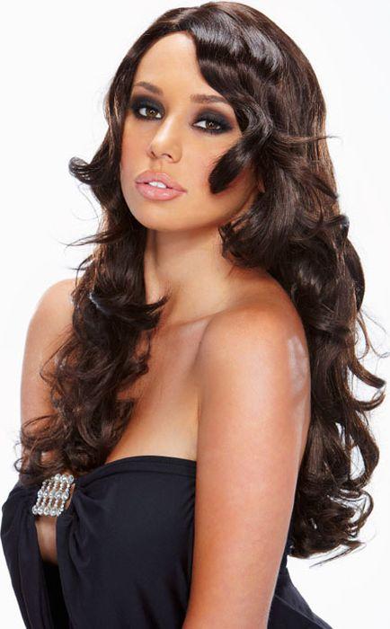 Черный парик с вьющимися локонами Ringleader. Размер универсальный. EF-WG-16-BRN - Средства и аксессуары для волос