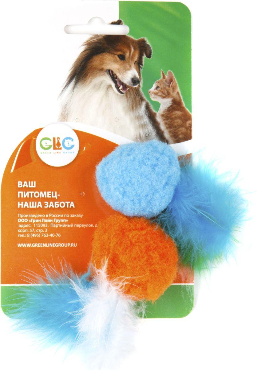 Игрушка для кошек GLG Мячик плюш с перышками, 2 шт0120710Игрушка будет поддерживать вашу кошку в отличной спортивной форме и не даст ей засидеться.Предназначена для активных игр с кошкой.Длина игрушки: 4 см.В наборе 2 игрушки.