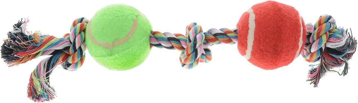 Игрушка для собак Каскад Канат. 3 узла + 2 мяча, цвет: зеленый, красный, длина 35 см18654Игрушка для собак Каскад Канат. 3 узла + 2 мяча станет любимым предметом для вашего питомца. Игрушка прочная и может выдержать огромное количество часов игры. Это идеальная замена косточке. Также изделие подойдет для бросков и игры в перетягивание. Игрушка представляет собой канат с двумя мячами.Длина игрушки: 35 см.Диаметр мяча: 6 см. Уважаемые клиенты! Обращаем ваше внимание на возможные изменения в цвете деталей товара. Поставка осуществляется в зависимости от наличия на складе.