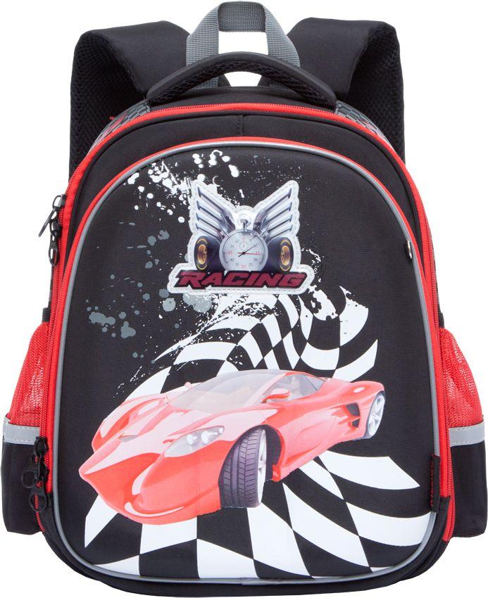 Grizzly Ранец школьный цвет черный RA-778-8/172523WDШкольный ранец с жестким каркасом Grizzly - это красивый и удобный рюкзак, который подойдет всем, кто хочет разнообразить свои школьные будни. Ранец выполнен из плотного материала и оформлен оригинальным ярким принтом с изображением спортивного автомобиля. Рюкзак имеет два основных вместительных отделения на застежках-молниях. В первом отделении расположены две мягкие перегородки для тетрадей и учебников, а также эластичная резинка. Во втором отделении находится органайзер для канцелярских принадлежностей -два сетчатых кармана, открытый и на молнии, карман для мобильного телефона с клапаном на липучке, четыре кармашка для канцелярских принадлежностей и лента с карабином для ключей. По бокам расположены открытые сетчатые карманы. На лицевой стороне ранец декорирован подвеской-брелоком в виде гоночной машинки с сине-красной мигающей подсветкой. Рюкзак оснащен удобной ручкой для переноски и петлей для подвешивания.Широкие регулируемые лямки и сетчатые мягкие вставки на спинке рюкзака защитят спину ребенка от перенапряжения при длительном ношении, а также обеспечат необходимую вентиляцию. Многофункциональный школьный ранец станет незаменимым спутником вашего ребенка в походах за знаниями.