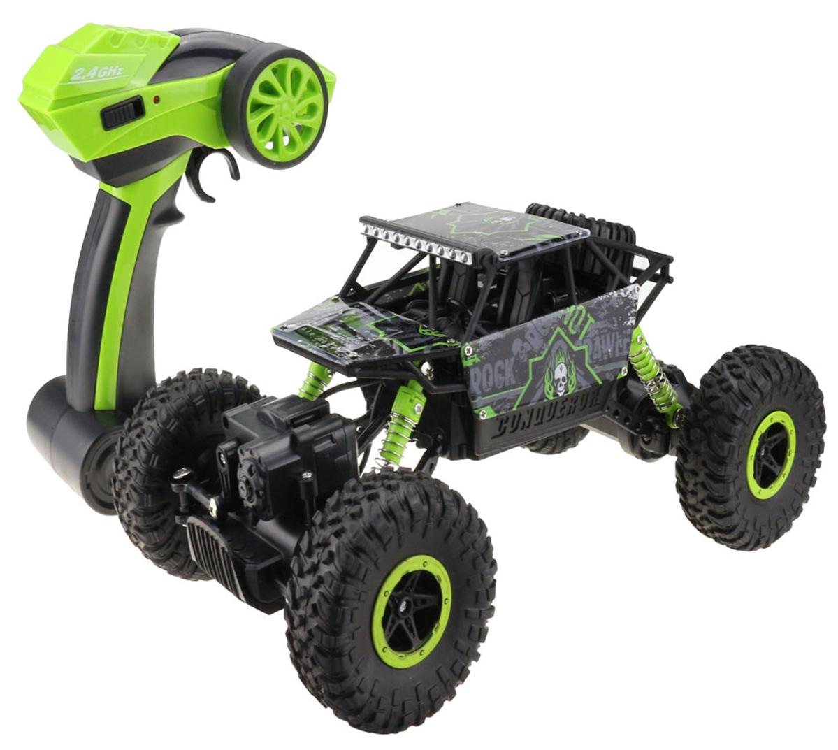 Привод на все 4 колеса, на каждую ось свой электродвигатель. Управление колесами дискретное. Прочный и стильный корпус. Пульт работает на частоте 2.4 Ггц. Краулер работает от 4-х батареек формата АА, пульт от 2-х АА.