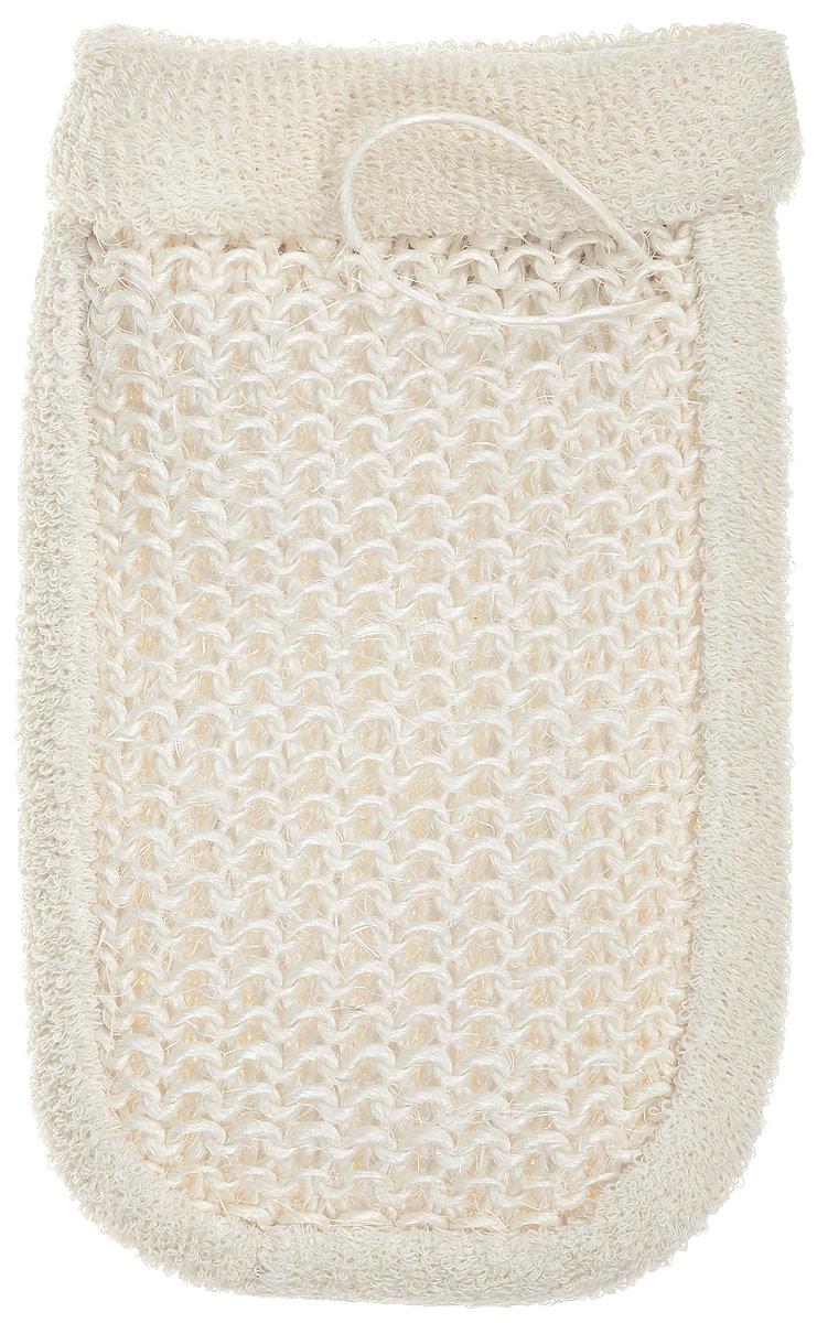 Мочалка-рукавица Riffi, махровая, с вязаной вставкой, цвет: молочный5010777139655Мочалка-рукавица Riffi, махровая, с вязаной вставкой, цвет: молочный