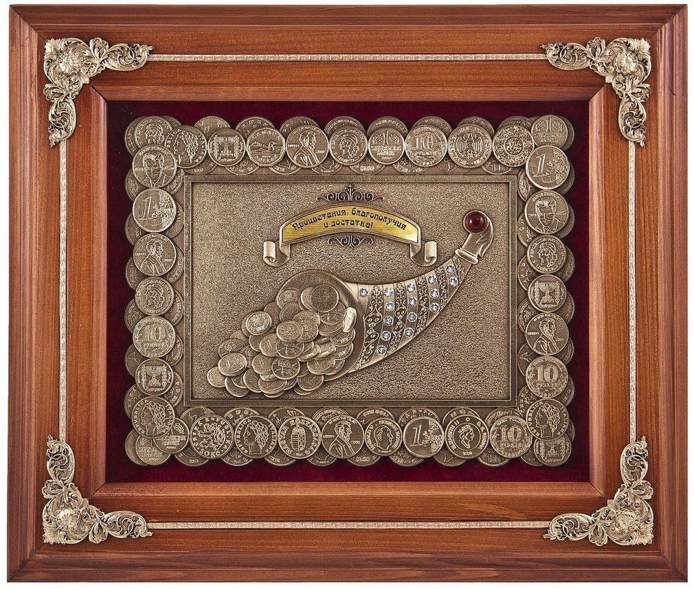 Ключница Рог изобилия, 28 х 34 см. Авторская работа. КЛД -620орех1235997Ключ – символ власти. Должность ключницы при дворце или барском доме была самой почетной и символизировала безграничное доверие императора или барина к человеку, которому вручены ключи от всего имущества. Разбрасывать ключи по дому или офису или постоянно держать в кармане – дурной тон, да и потерять их так всего проще. Зачем же отвлекаться деловому человеку на поиски ключей от вилл и усадеб, яхт и самолетов, сейфов и машин, кладовых и амбаров? Время – деньги, не стоит тратить его на поиски! Должность ключницы сейчас упразднена, но есть отличная альтернатива – надежный сейф для ключей – ключница!Деревянный багет, бархат, стекло, медь с эмалями, полудрагоценный камень яшма, стразы Сваровски, металлизированный шильд с лазерной гравировкой