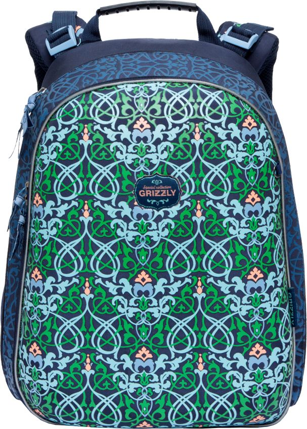 Grizzly Ранец школьный цвет синий RA-779-4/1RA-779-4/1Школьный ранец с жестким каркасом Grizzly - это красивый и удобный рюкзак, который подойдет всем, кто хочет разнообразить свои школьные будни. Ранец выполнен из плотного материала и оформлен оригинальным оригинальным цветочным принтом. Рюкзак имеет два основных вместительных отделения на застежках-молниях. В первом отделении расположены два мягких разделителя для тетрадей и учебников. Во втором отделении находится органайзер для канцелярских принадлежностей -два сетчатых кармана, открытый и на молнии, карман для мобильного телефона с клапаном на липучке, четыре кармашка для канцелярских принадлежностей, лента с карабином для ключей и большой карман-сетка. На лицевой стороне ранец декорирован подвеской-брелоком в виде куколки с большим сиреневым бантом. Рюкзак оснащен удобной ручкой для переноски и петлей для подвешивания.Широкие регулируемые лямки и сетчатые мягкие вставки на спинке рюкзака защитят спину ребенка от перенапряжения при длительном ношении, а также обеспечат необходимую вентиляцию. Многофункциональный школьный ранец станет незаменимым спутником вашего ребенка в походах за знаниями.