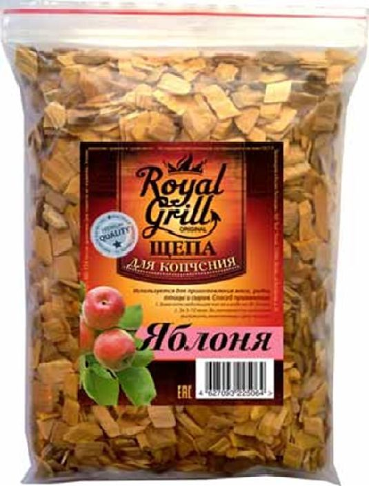 Щепа RoyalGrill Яблоня, 1 л. 80-15454 009312Щепа яблоня, 1л. Материал древесина. Вес 230 гр. Страна производитель Россия.