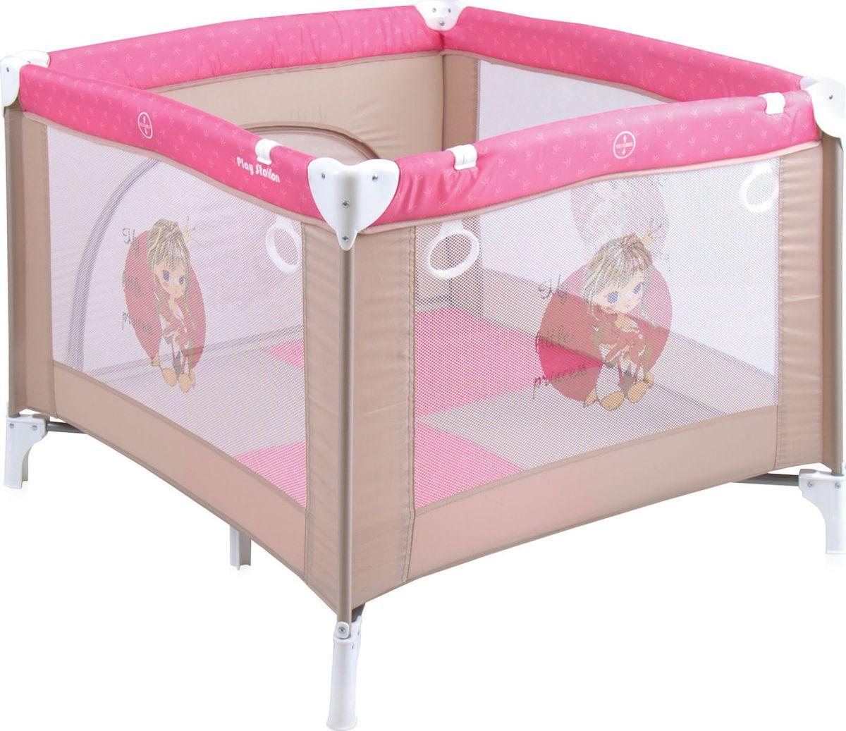 Lorelli Манеж Play Station цвет бежевый розовый74-0120Детский манеж Bertoni Play Station выполнен в современном стиле, компактен в сложенном виде. Отсутствуют острые углы, ткань приятная на ощупь.Особенности:Квадратный просторный манежТравмобезопасная конструкция Центральная ножка для обеспечения безопасностиЛегко складывается в компактную, удобную для переноски сумку Яркие, прочные, легкомоющиеся тканевые части Специальные кольца на боковинках для помощи малышу научиться вставатьСетчатые вставки в боковинах для лучшей вентиляции и обзораОтстегивающийся боковой лаз, чтобы малыш мог сам забираться в манеж и выбираться из негоРазмеры: 90х100x75 см.Характеристики