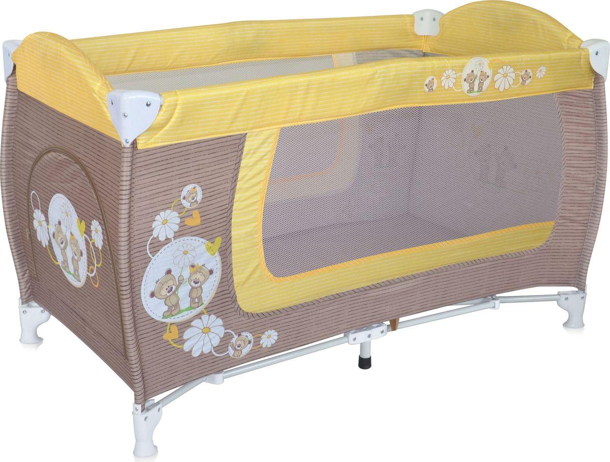 Lorelli Манеж Danny 1 цвет бежевый желтый3800151960300Детский манеж-кровать для детей от 6 мес. до 3 лет. Яркие расцветки, приятны для мамы и малыша. Манеж безопасен для игр и сна малыша, надежная установка и безопасность. Размеры манежа 120х60х72 см. вес 8,4кг. Манеж имеет боковой лаз на молнии, легкую систему складывания и раскладывания. Сумку - чехол для переноски манежа. Матрасик в комплетке на дно манежа.