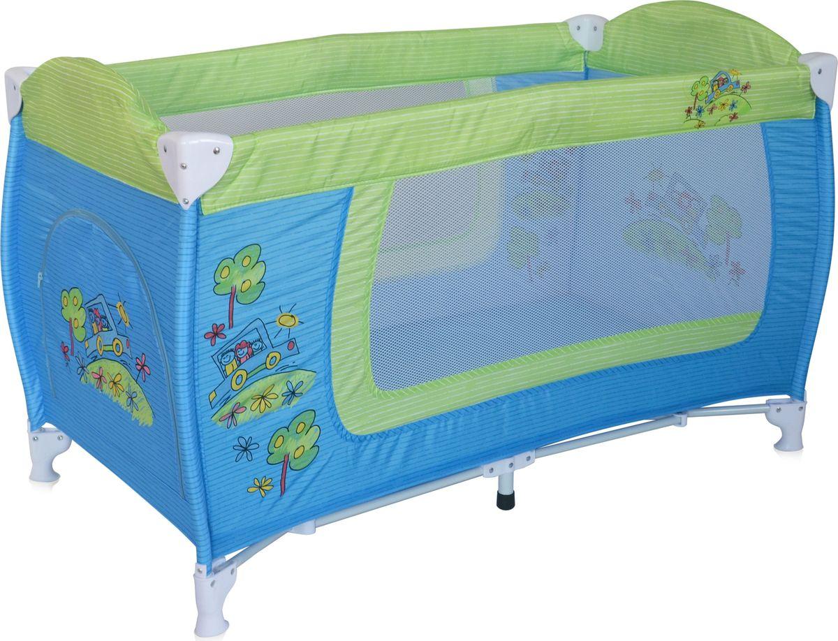 Lorelli Манеж Danny 1 цвет синий зеленый3800151960294Детский манеж-кровать для детей от 6 мес. до 3 лет. Яркие расцветки, приятны для мамы и малыша. Манеж безопасен для игр и сна малыша, надежная установка и безопасность. Размеры манежа 120х60х72 см. вес 8,4кг. Манеж имеет боковой лаз на молнии, легкую систему складывания и раскладывания. Сумку - чехол для переноски манежа. Матрасик в комплетке на дно манежа.