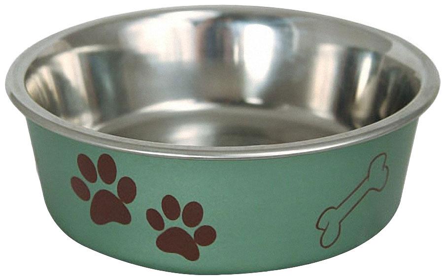 Миска для кошек и собак Triol Лапки, металлическая, 0.25 л, цвет: зеленый0120710Стильная круглая миска из нержавеющей стали для кошек и собак небольших пород. Она идеально подходит как для воды, так и для корма разной консистенции. Миска комфортна для питомца и легко моется под струей проточной воды с использованием моющих бытовых средств. Прорезиненное основание обеспечивает максимальную устойчивость, препятствуя скольжению изделия во время использования, а оригинальный принт сделает такую миску украшением любого интерьера.