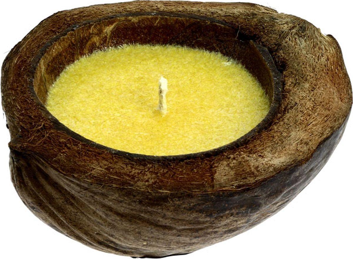 Свеча ароматизированная CV Tample-Lights, в кокосе, с ароматом цитронеллыБрелок для ключейСвеча CV Tample-Lights, плавающая в натуральном кокосе с растительным воском и ароматическим маслом. В летнее время большим спросом пользуются свечи с ароматом цитронеллы. Свечи имеют приятный запах, который к тому же отпугивает комаров. После того, как свеча сгорела, из нее можно сделать новую, или она может служить декоративным украшением.