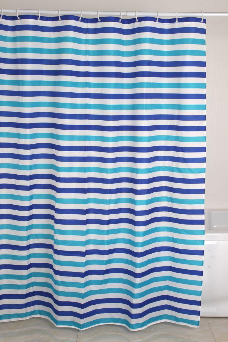 Штора для ванной Коллекция, цвет: белый, голубой, 170 х 180 смATP-233Штора для ванной комнаты Коллекция, изготовлена из полиэстера с водоотталкивающей пропиткой. Штора быстро сохнет, легко моется (разрешена деликатная стирка в стиральной машине при температуре 30°С без отжима) и обладает повышенной износостойкостью, благодаря двойной обработке краев и устойчивым красителям.