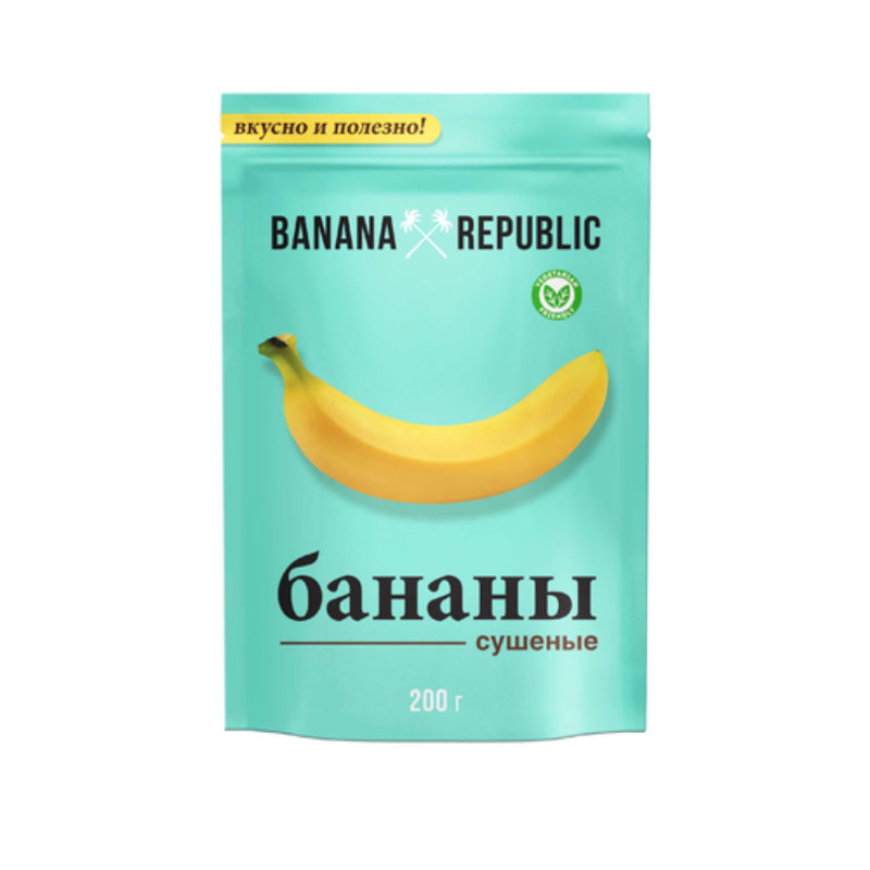 Banana Republic банан сушеный, 200 г14.5442Banana Republic - это отборные спелые бананы, собранные вручную на плантациях Таиланда и вяленые естественным образом под лучами жаркого солнца. Вяленые бананы, облитые глазурью, являются изысканным десертом, который поднимает настроение и восстанавливает силы. Бананы Banana Republic - вкусный заряд жизненный энергии.