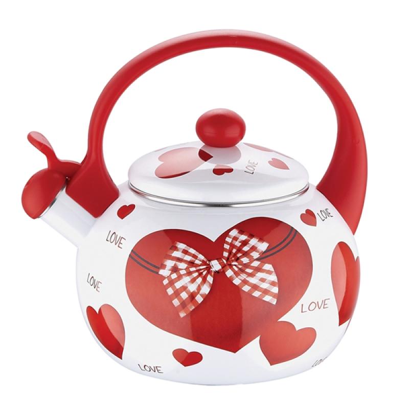Чайник эмалированный Wellberg, со свистком, Сердце, цвет: белый, красный, 2,2 лАксион Т-33Чайник эмалированный Wellberg, со свистком, Сердце, цвет: белый, красный, 2,2 л
