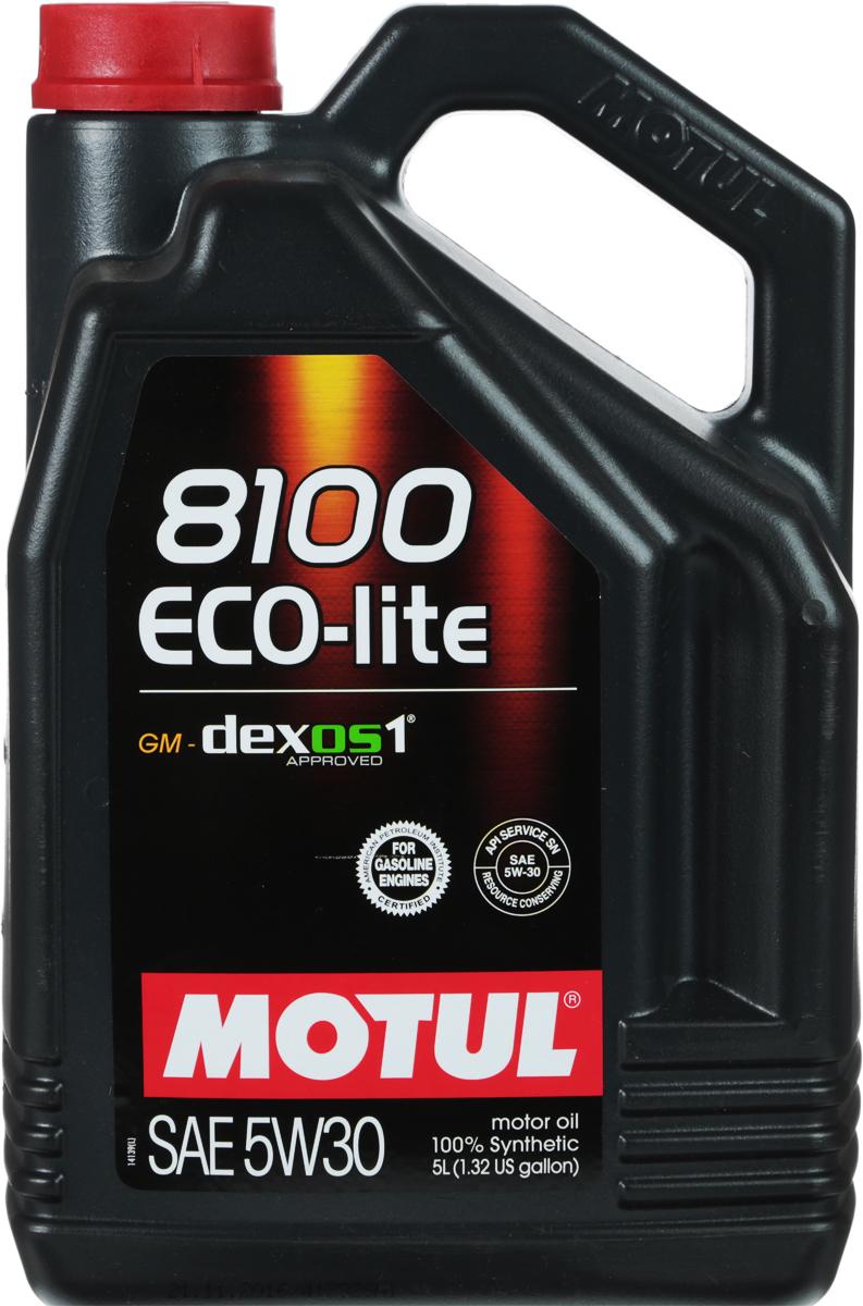 Масло моторное Motul 8100 Eco-Lite, синтетическое, 5W-30, 5 л10503100% синтетическое энергосберегающее моторное масло для современных бензиновых двигателей Honda, Subaru и Toyota, а так же других азиатских производителей, требующих масло класса вязкости 30. API Стандарты: API SERVICES SN; ILSAC GF-5Одобрения: GM-dexos1