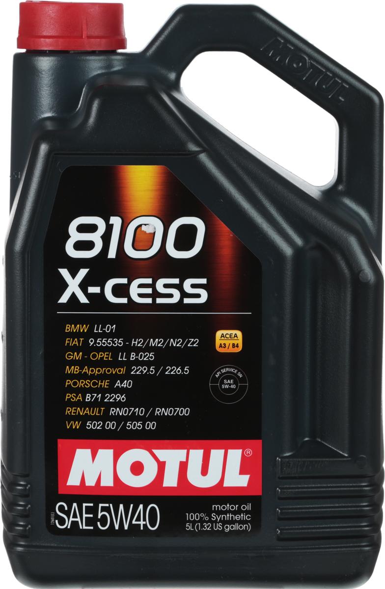 Масло моторное Motul 8100 X-Cess, синтетическое, 5W-40, 5 л102870100% синтетическое моторное масло для бензиновых и дизельных двигателей. Высокотехнологичное 100% синтетическое моторное масло, специально разработано для современных двигателей легковых автомобилей обладающих большой мощностью и объемом, для бензиновых и дизельных двигателей с непосредственным впрыском, оснащенных системами нейтрализации отработанных газов. 8100 X-cess 5W-40 - имеет многочисленные допуски автопроизводителей, что позволяет применять его в гарантийный период. Применяется в двигателях, работающих на всех сортах бензина, дизельного и газового топлива (LPG). ACEA Стандарты: ACEA A3/B4API Стандарты: API SN/CFОдобрения: OPEL GM LL-B-025; MB-Approval 229.5; BMW LL-01; PORSCHE A40; VW 502 00/505 00; Renault RN 0710/0700; GM-Opel LL B-025 (Diesel); FIAT 9.55535-H2; FIAT 9.55535-M2; FIAT 9.55535-N2; FIAT 9.55535-Z2; PSA B71 2296