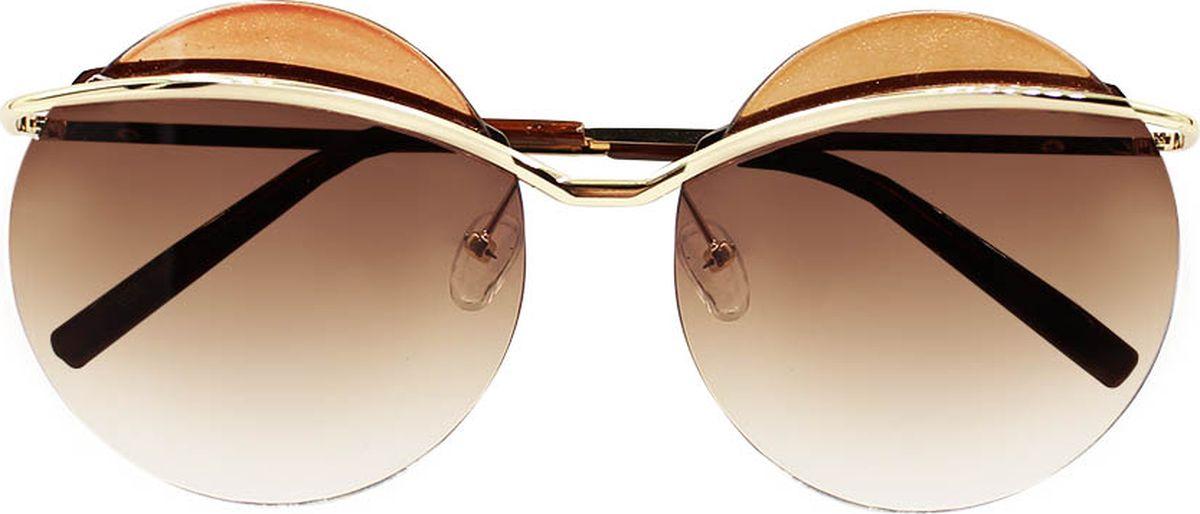 Очки солнцезащитные женские Taya, цвет: коричневый, золотистый. S-O-0037BM8434-58AEСтильные солнцезащитные круглые очки-тишейды Taya прекрасно подходят для повседневной носки и отдыха. Очки с высокоэффективным ультрафиолетовым фильтром защитят ваши глаза от ультрафиолета, повреждений и ярких солнечных лучей. Очки Taya – это эффектный аксессуар, который станет изюминкой вашего индивидуального стиля.Категория: 2. Пропускают 18-43% света.