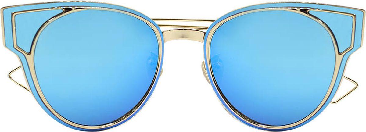 Очки солнцезащитные женские Taya, цвет: синий, золотистый. S-O-0049BM8434-58AEСтильные солнцезащитные очки Taya формы кошачий глаз с зеркальными линзами прекрасно подходят для повседневной носки и отдыха. Очки с высокоэффективным ультрафиолетовым фильтром защитят ваши глаза от ультрафиолета, повреждений и ярких солнечных лучей. Очки Taya – это эффектный аксессуар, который станет изюминкой вашего индивидуального стиля.Категория: 2. Пропускают 18-43% света.